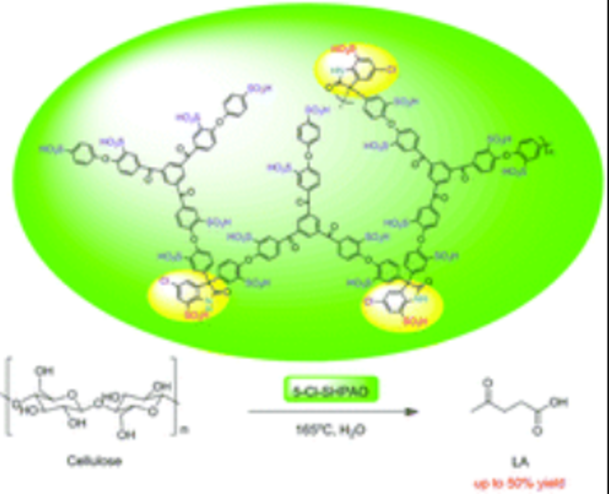 Molecular design of sulfonated hyperbranched poly(arylene oxindole)s for efficient cellulose conversion to levulinic acid